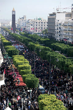 Tunisians gathered to celebrate the revolution's first anniversary